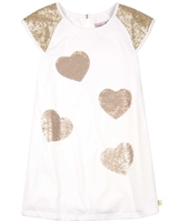 Boboli Girls Chiffon Dress with Sequin Hearts