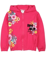 Boboli Hooded Cardigan with Floral Print