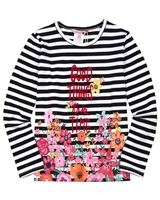 Boboli Striped T-shirt with Floral Print