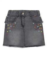 Boboli Denim Skirt with Embroidery