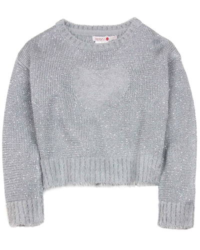 Boboli Shag Knit Sweater with Heart