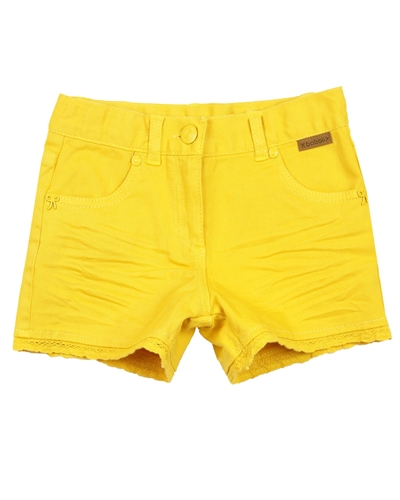 Boboli Girls Twill Shorts in Yellow