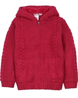 Boboli Girls Cable Knit Hooded Cardigan