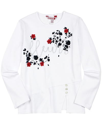 Boboli Girls T-shirt with Print and Buttons