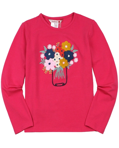 Boboli Girls T-shirt with Floral Applique