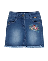 Boboli Girls Denim Skirt with Frayed Bottom
