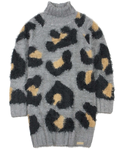 Boboli Girls Knit Sweater Dress in Cheetah Print