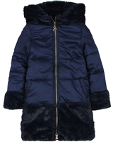 Boboli Girls' Combination Coat with Hood
