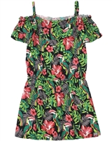 Boboli Girls Off-shoulder Dress in Tropical Print