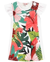 Boboli Girls Jersey Dress with Tropical Print Front