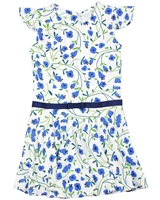 Boboli Girls Dress in Blue Floral Print