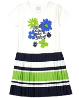 Boboli Girls Dress with Striped Plisse Bottom