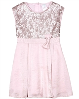 Boboli Girls Sequin and Satin Dress with Pleats