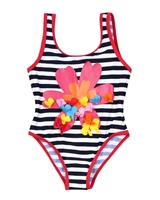 Boboli Girls One-piece Striped Swimsuit with Flower