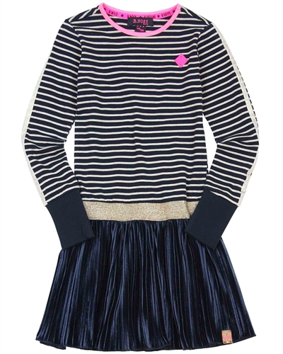 B.Nosy Striped Jersey Dress with Plisse Bottom