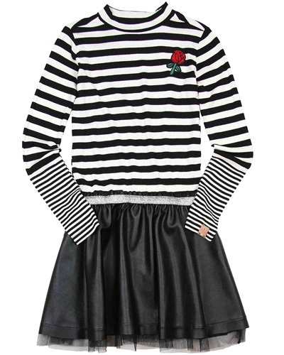 B.Nosy Stripe and Pleather Dress