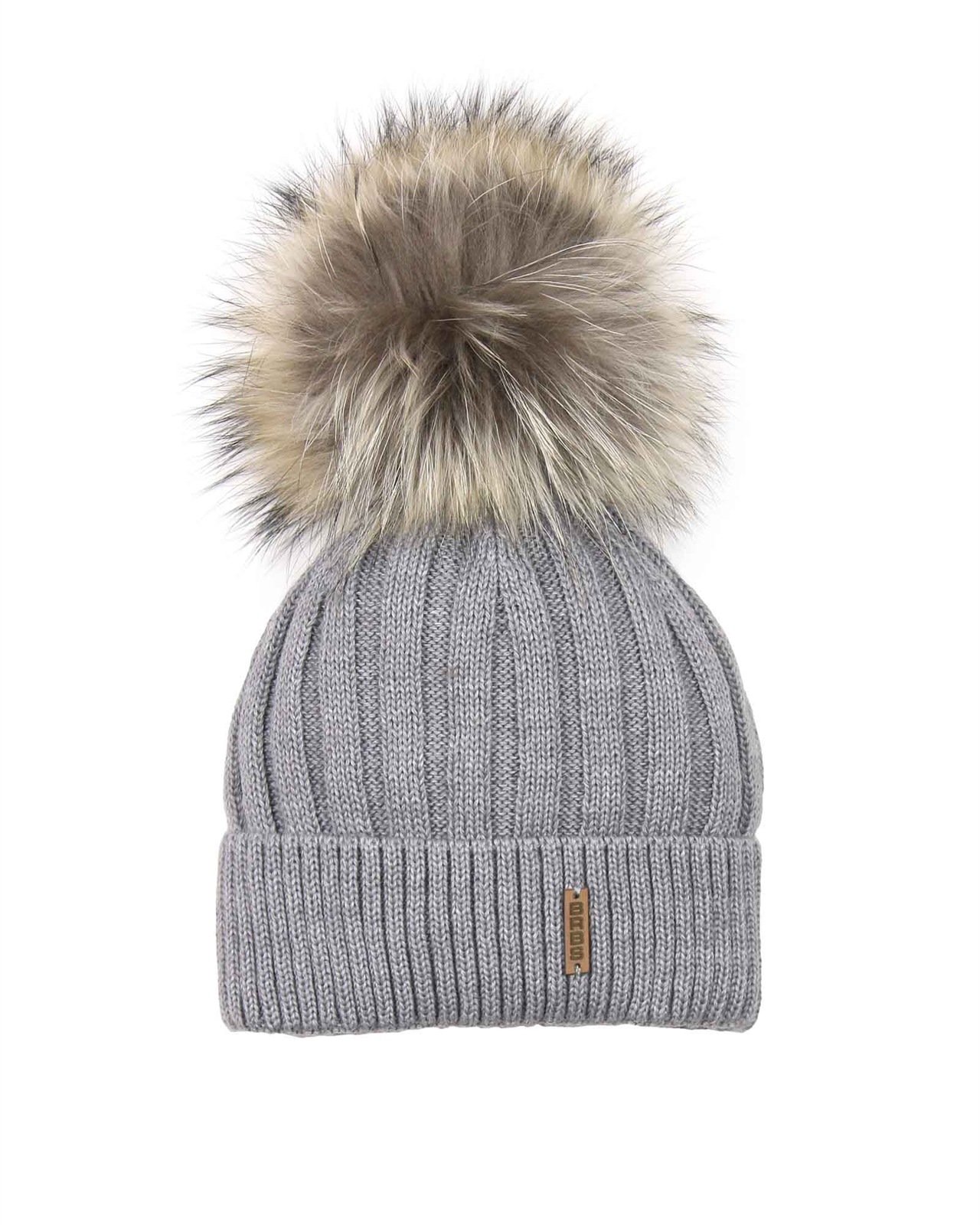 dc43302042f Barbaras. Rib knit beanie hat lined with jersey lining   Detachable real raccoon  fur pompom ...