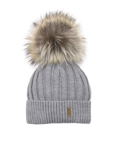 Barbaras Boys' Wool Beanie Hat in Grey with Racoon Pompom