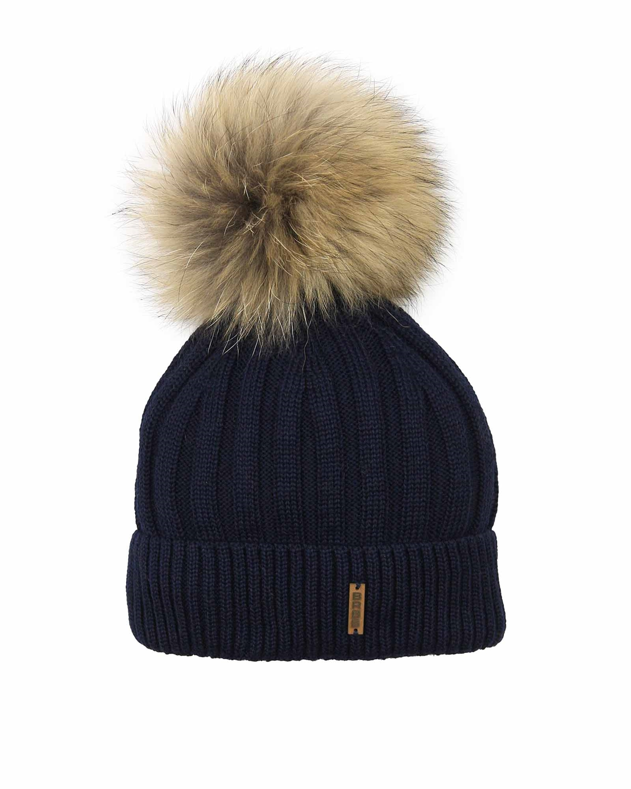 5b8d38d3e7a Barbaras Boys  Wool Beanie Hat in Navy with Racoon Pompom - Barbara ...