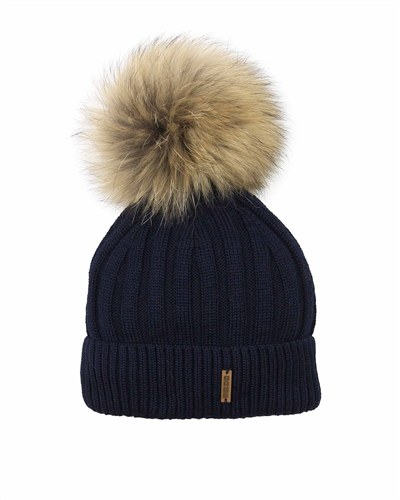Barbaras Boys' Wool Beanie Hat in Navy with Racoon Pompom