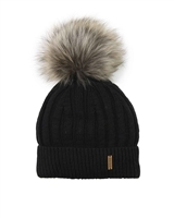 Barbaras Boys' Wool Beanie Hat in Black with Racoon Pompom