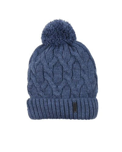 Barbaras Boys' Cable Knit Hat in Blue with Pompom