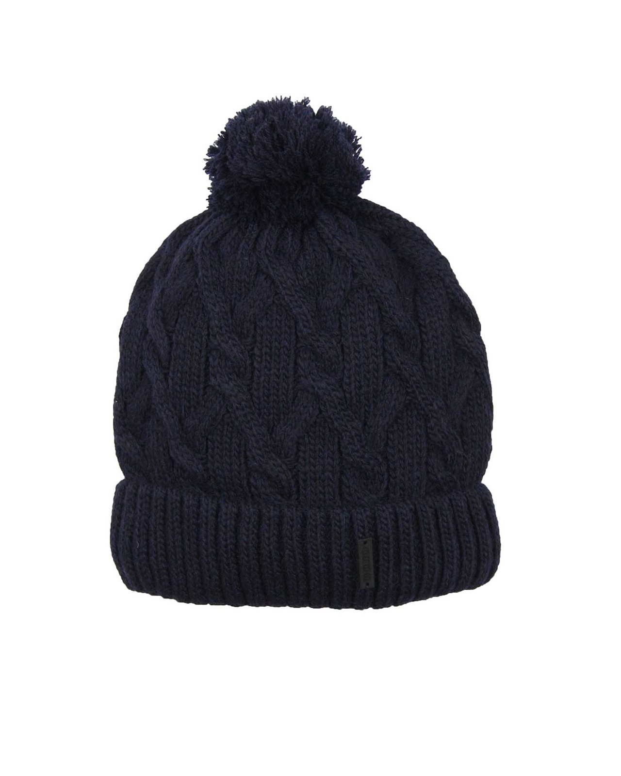 508dd6568d0 Barbaras Boys  Cable Knit Hat in Navy with Pompom - Barbara Hats ...