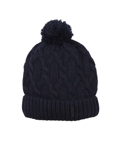Barbaras Boys' Cable Knit Hat in Navy with Pompom