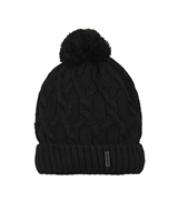 Barbaras Boys' Cable Knit Hat in Black with Pompom