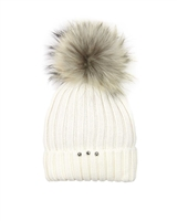 Barbaras Girls Wool Beanie Hat in Ivory  with Racoon Pompom