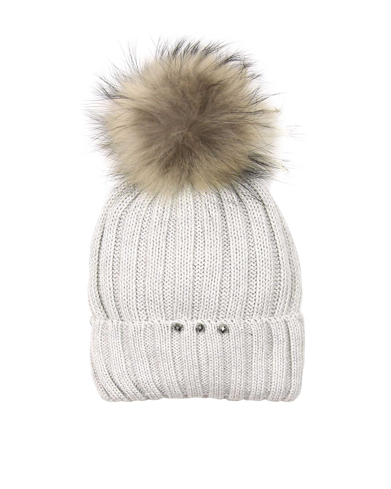 27f58be4bd1 Barbaras Girls Wool Beanie Hat in Grey with Racoon Pompom - Barbara ...