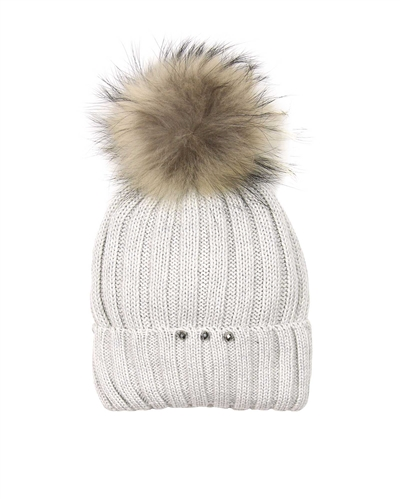 Barbaras Girls Wool Beanie Hat in Grey with Racoon Pompom