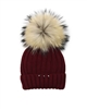Barbaras Girls Wool Beanie Hat with Racoon Pompom