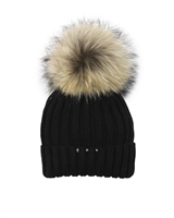 Barbaras Girls Wool Beanie Hat in Black with Racoon Pompom