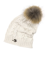Barbaras Girls Slouchy Beanie in Beige with Racoon Pompom