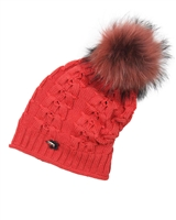 Barbaras Girls Slouchy Beanie in Red with Racoon Pompom