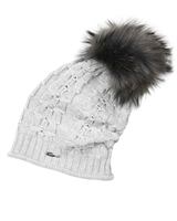 Barbaras Girls Slouchy Beanie in Grey with Racoon Pompom