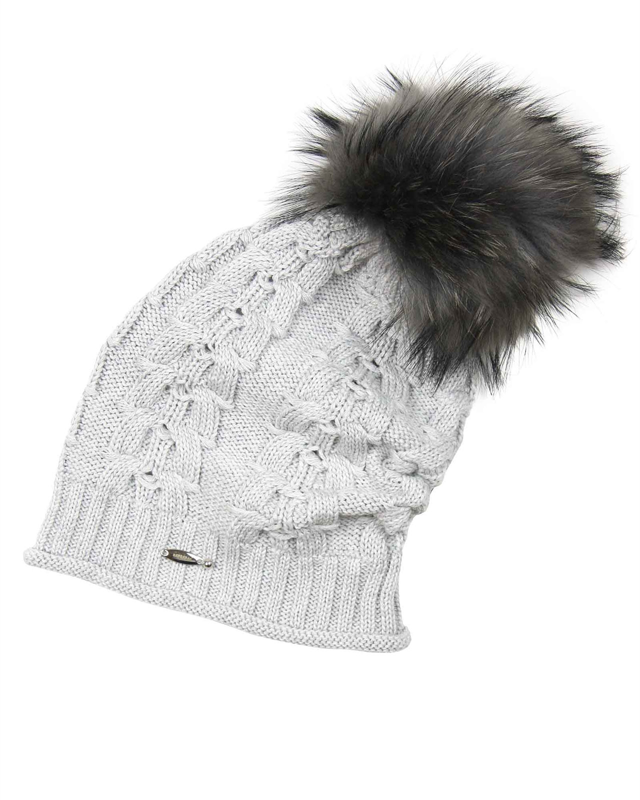 Barbaras Girls Slouchy Beanie in Grey with Racoon Pompom - Barbara ... 87d0598ee7c