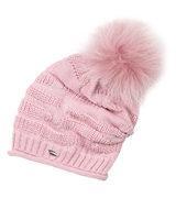 Barbaras Girls Slouchy Beanie in Pink with Racoon Pompom