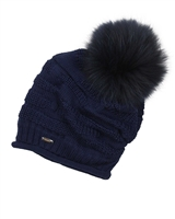 Barbaras Girls Slouchy Beanie in Navy with Racoon Pompom