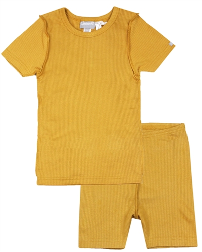 COCCOLI Girls Rib Jersey Shorts Pyjamas Set in Mustard