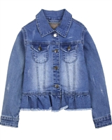 Creamie Girl's Denim Jacket Frayed Hem