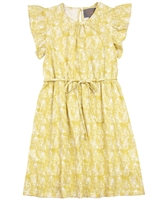 Creamie Girl's Jersey Dress with Flounces Sleeves in Yellow