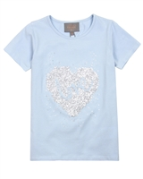 Creamie Girl's T-shirt with Heart Shape Applique