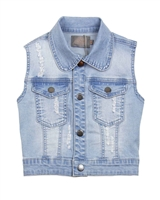 Creamie Girl's Denim Vest In Distressed Look