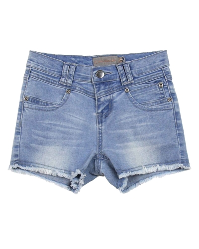 Creamie Girl's Denim Shorts with Frayed Hem in Blue