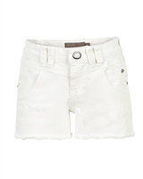 Creamie Girl's Denim Shorts with Frayed Hem in White