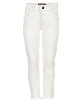 Creamie Girl's Denim Pants with Frayed Hem in White
