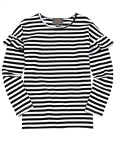 Creamie Girl's Striped T-shirt with Ruffles