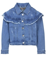 Creamie Girl's Denim Jacket with Frill